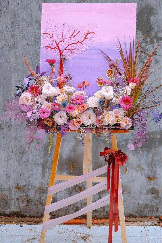 Tạo điểm nhấn cho tranh hoa chúc mừng