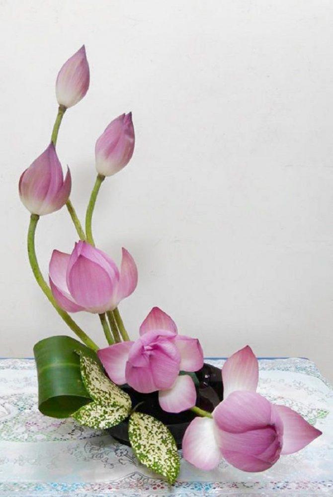 Nguyên liệu cắm bình hoa sen để trang trí với kiểu trăng khuyết
