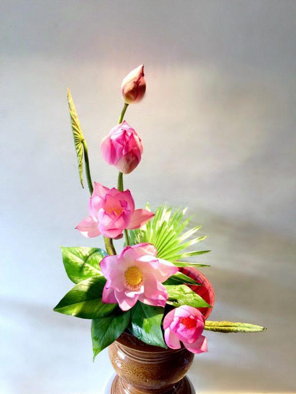 Cắm hoa sen và gương sen