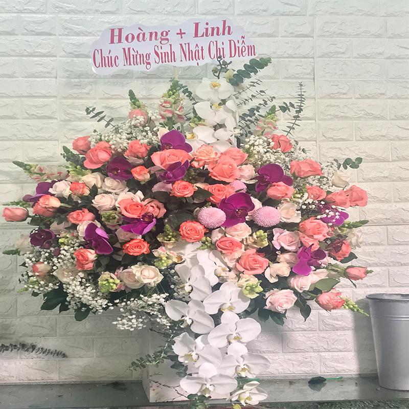 Cắm hoa phi yến và hoa lan hồ điệp trắng