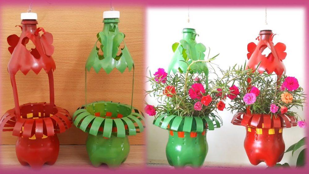 Hướng dẫn cách làm chậu trồng hoa mười giờ từ chai nhựa đơn giản