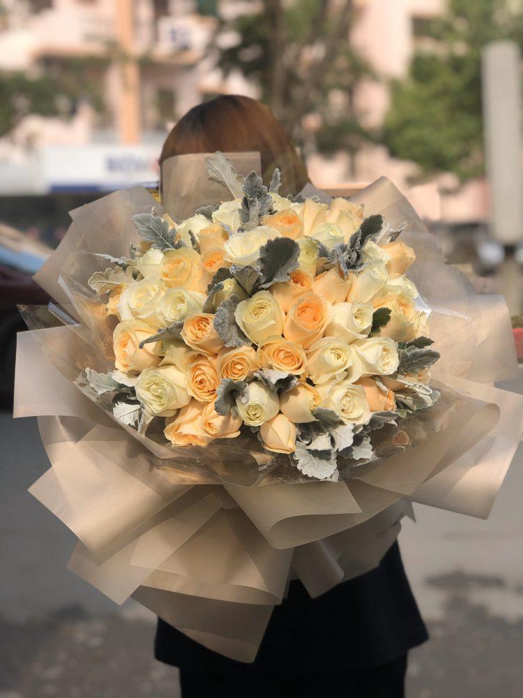 Gói giấy lưới cho bó hoa