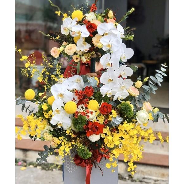Nguyên liệu cho hộp hoa 2 tầng tặng ngày khai trương