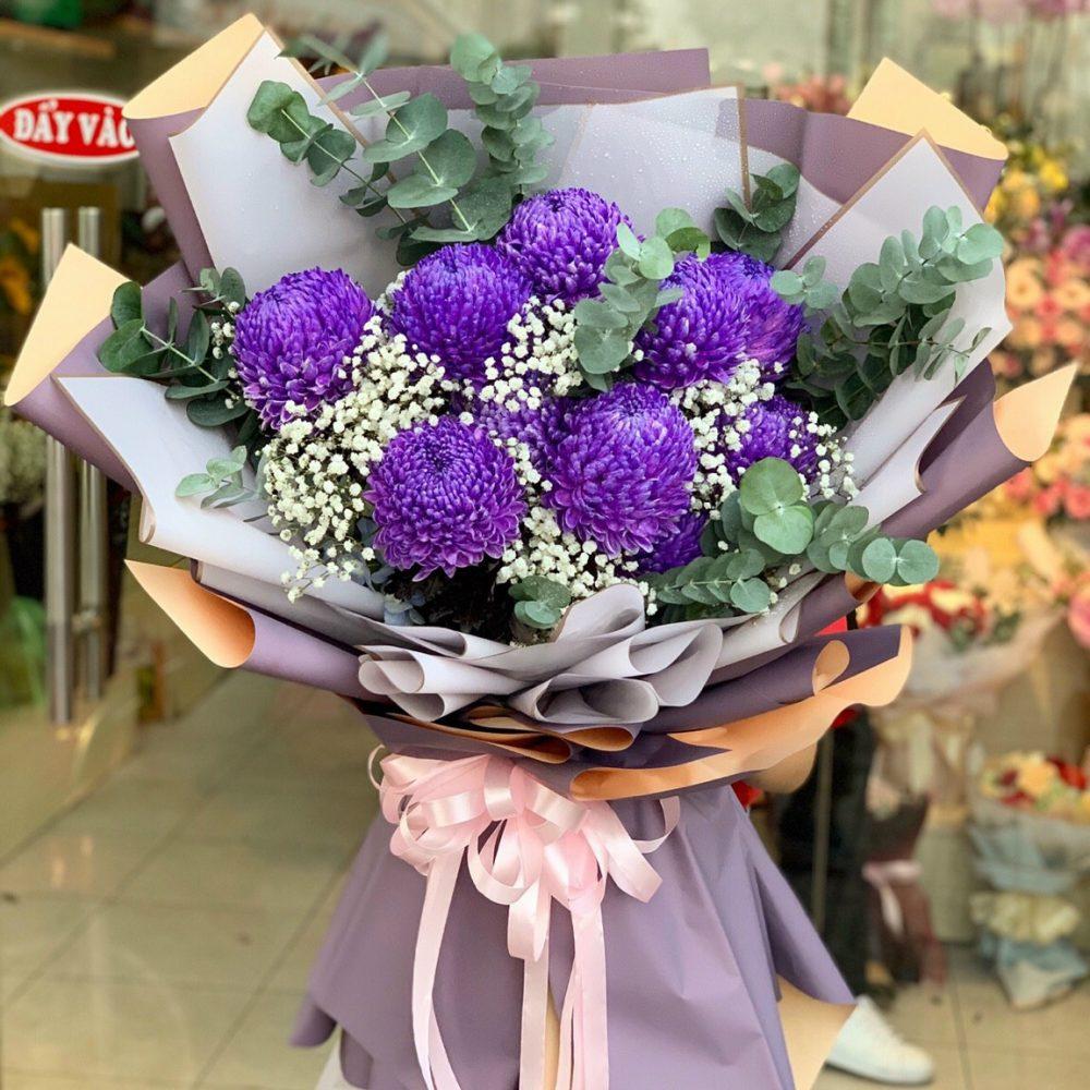 Thủ thuật bó hoa cúc mẫu đơn một mặt kết hợp với hoa baby