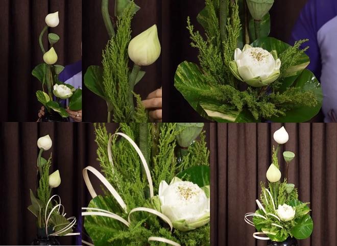Nguyên vật liệu để cắm hoa sen trao gửi lời yêu thương
