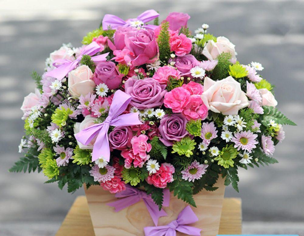 Phương pháp cắm giỏ hoa sinh nhật phong cách mới