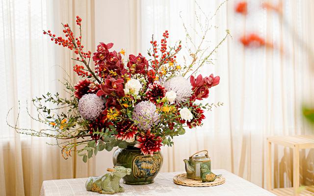 Cắm hoa phi yến và hoa cẩm tú cầu