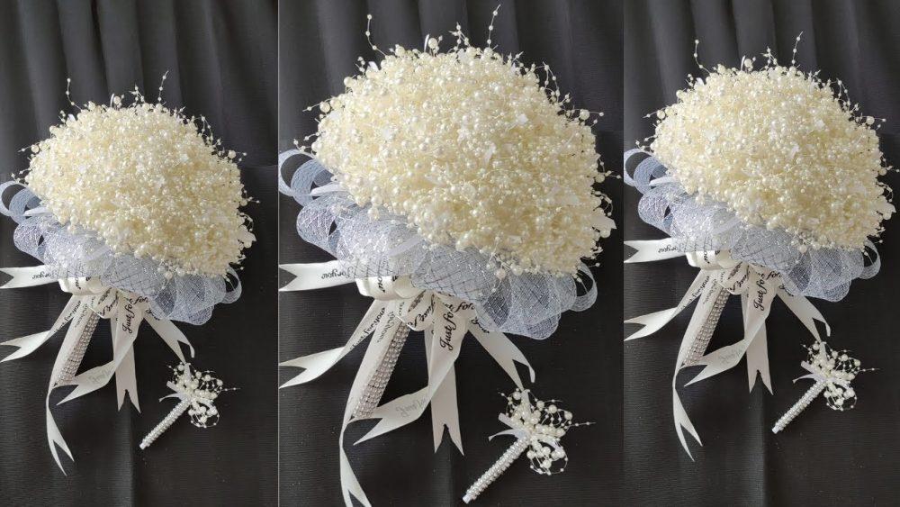 Nguyên liệu của bó hoa cưới bằng ngọc trai
